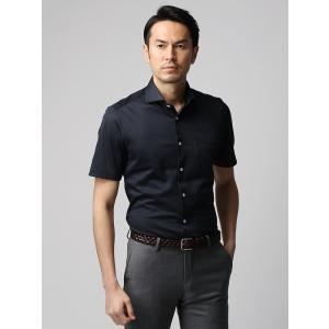 カジュアルシャツ/メンズ/JAPAN FABRIC/COOL MAX/鹿の子ジャージーホリゾンタルカラー半袖シャツ ネイビー|uktsc