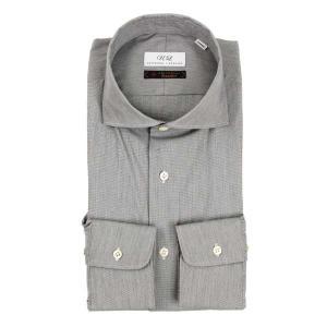 ドレスシャツ/長袖/メンズ/ホリゾンタルカラードレスシャツ 無地/Fabric by Albini/ ミディアムグレー uktsc