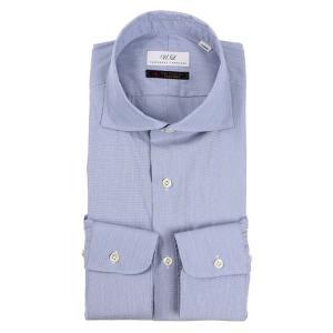 ドレスシャツ/長袖/メンズ/ホリゾンタルカラードレスシャツ 無地/Fabric by Albini/ ブルー uktsc