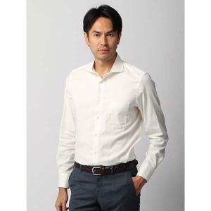 ドレスシャツ/長袖/メンズ/ホリゾンタルカラードレスシャツ 無地/Fabric by ALBIATE/ オフホワイト|uktsc
