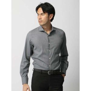 ドレスシャツ/長袖/メンズ/ホリゾンタルカラードレスシャツ 無地/Fabric by ALBIATE/ ミディアムグレー|uktsc