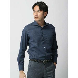 ドレスシャツ/長袖/メンズ/ホリゾンタルカラードレスシャツ 無地/Fabric by ALBIATE/ ネイビー|uktsc