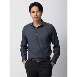 ドレスシャツ/長袖/メンズ/ホリゾンタルカラードレスシャツ 無地/Fabric by ALBIATE/ グレイッシュネイビー|uktsc