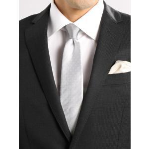 ネクタイ/メンズ/Formal Design Tie/ドット×ソリッド ノットクレリックネクタイ グレー系|uktsc