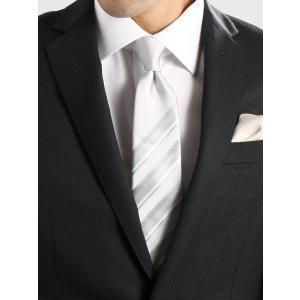 ネクタイ/メンズ/Formal Design Tie/ストライプ×ソリッド Vゾーンデザインネクタイ グレー系|uktsc
