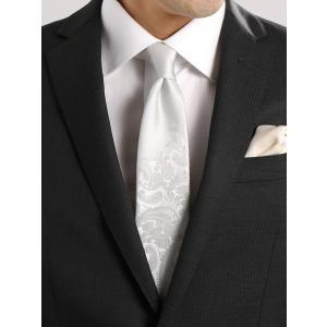 ネクタイ/メンズ/Formal Design Tie/ペイズリー×ソリッド Vゾーンデザインネクタイ グレー系|uktsc
