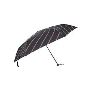 グッズ/メンズ/HUS.別注/ Carbon E Slim 55 UVカット折り畳み傘 ブラック×レッド×ホワイト/ストライプ|uktsc
