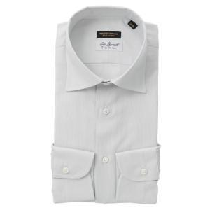 ドレスシャツ/長袖/メンズ/FILO D'ORO/ワイドカラードレスシャツ/Fabric by CarloBassetti/ ライトグレー×ホワイト|uktsc