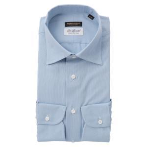 ドレスシャツ/長袖/メンズ/FILO D'ORO/ワイドカラードレスシャツ/Fabric by CarloBassetti/ サックスブルー×ホワイト|uktsc