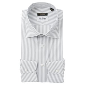 ドレスシャツ/長袖/メンズ/FILO D'ORO/ワイドカラードレスシャツ/Fabric by CarloBassetti/ ホワイト×グレー|uktsc