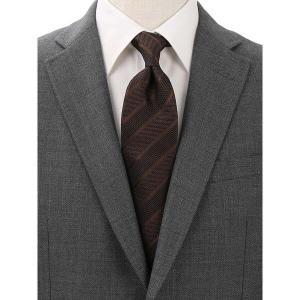 ネクタイ/レギュラータイ/メンズ/Solid Tie's Collection/FRESCO ストライプ柄フレスコタイ ブラウン×ブラック|uktsc