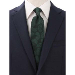 ネクタイ/レギュラータイ/メンズ/Solid Tie's Collection/FRESCO ペイズリー柄フレスコタイ グリーン×ブラック|uktsc