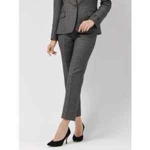 スーツ/レディース/セットアップ/通年/SUPER130'sウール チェック柄テーパードパンツ/Fabric by REDA/ ミディアムグレー×ライトグレー×ブラウン uktsc