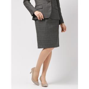 スーツ/レディース/セットアップ/通年/SUPER130'sウール チェック柄タイトスカート/Fabric by REDA/ ミディアムグレー×ライトグレー×ブラウン uktsc