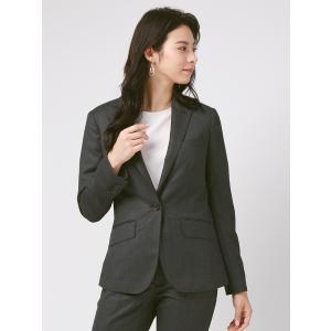 スーツ/レディース/セットアップ/通年/SUPER130'sウール ウインドーペーン柄ジャケット/Fabric by REDA/ チャコールグレー×ブルー uktsc