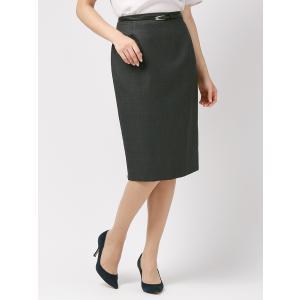 スーツ/レディース/セットアップ/通年/ウインドーペーン柄 ベルト付きタイトスカート/Fabric by REDA/ チャコールグレー×ブルー uktsc