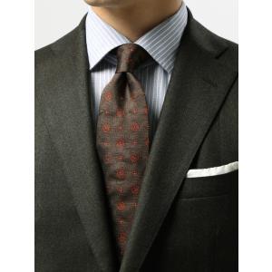 ネクタイ/レギュラータイ/メンズ/小紋×ヘリンボーン柄ネクタイ/Fabric by ITALY/ ブラウン系|uktsc