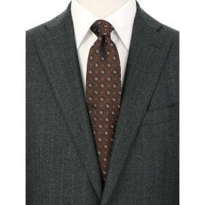 ネクタイ/レギュラータイ/メンズ/小紋柄ネクタイ/Fabric by ITALY/ ブラウン系|uktsc
