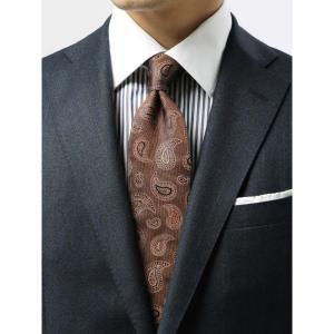 ネクタイ/レギュラータイ/メンズ/ペイズリー×織柄ネクタイ/Fabric by ITALY/ ブラウン系|uktsc