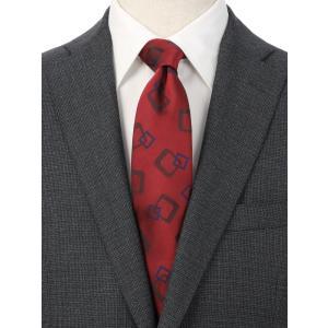 ネクタイ/レギュラータイ/メンズ/ジオメトリック×織柄ネクタイ レッド系 uktsc