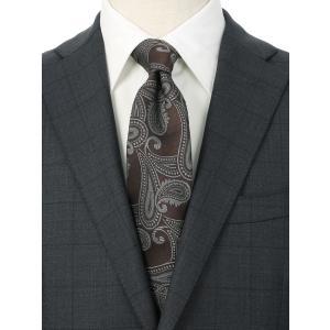 ネクタイ/レギュラータイ/メンズ/ペイズリー×織柄ネクタイ ブラウン系|uktsc