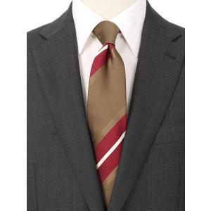 ネクタイ/レギュラータイ/メンズ/ストライプ×織柄ネクタイ ブラウン系|uktsc