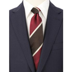 ネクタイ/レギュラータイ/メンズ/ストライプ×織柄ネクタイ レッド系 uktsc