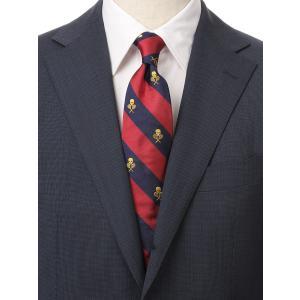 ネクタイ/レギュラータイ/メンズ/ドクロ×ストライプ柄ネクタイ/Fabric by STEPHEN WALTERS/ レッド系 uktsc