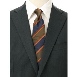 ネクタイ/レギュラータイ/メンズ/ストライプ×織柄ネクタイ/Fabric by STEPHEN WALTERS/ ブラウン系 uktsc