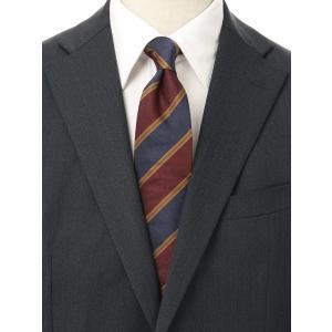 ネクタイ/レギュラータイ/メンズ/ストライプ×織柄ネクタイ/Fabric by STEPHEN WALTERS/ レッド系 uktsc