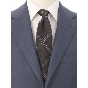 ネクタイ/レギュラータイ/メンズ/ハウンドトゥース×チェック柄ネクタイ/Fabric by VANNERS/ ブラウン系|uktsc