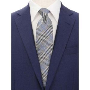ネクタイ/レギュラータイ/メンズ/グレンチェック柄ネクタイ/Fabric by ITALY/ ブルー系|uktsc