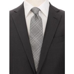 ネクタイ/レギュラータイ/メンズ/グレンチェック柄ネクタイ/Fabric by ITALY/ グレー系|uktsc