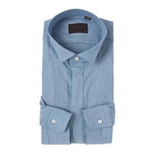 ドレスシャツ/長袖/メンズ/ウイングカラードレスシャツ 無地 インディゴ|uktsc