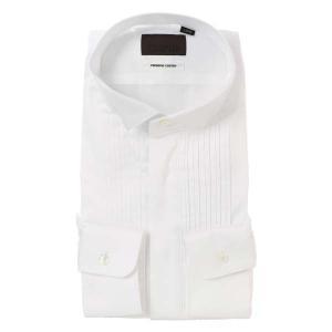 ドレスシャツ/長袖/メンズ/ウイングカラードレスシャツ 織柄 ホワイト|uktsc