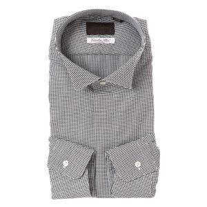 ドレスシャツ/長袖/メンズ/ウイングカラードレスシャツ ジオメトリック柄/Fabric by Albini/ ブラック×ホワイト|uktsc
