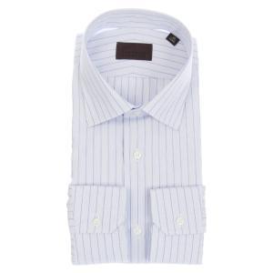 ドレスシャツ/長袖/メンズ/COOL MAX/ワイドカラードレスシャツ オルタネートストライプ ホワイト×ブルー|uktsc