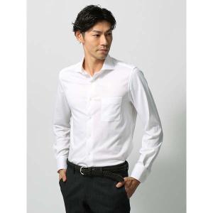 ドレスシャツ/長袖/メンズ/ジャージー素材/ホリゾンタルカラードレスシャツ 無地 ホワイト uktsc