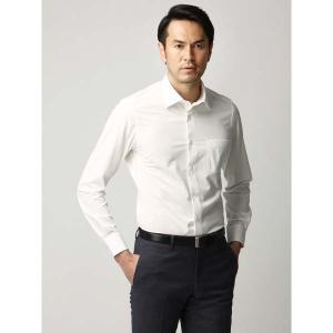 ドレスシャツ/長袖/メンズ/ジャージー素材/ワイドカラードレスシャツ 織柄 オフホワイト|uktsc