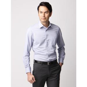 ドレスシャツ/長袖/メンズ/ジャージー素材/ワイドカラードレスシャツ 織柄 ライトネイビー×ホワイト|uktsc