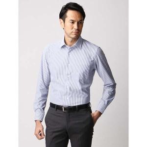 ドレスシャツ/長袖/メンズ/ジャージー素材/ワイドカラードレスシャツ ストライプ ブルー×ホワイト|uktsc