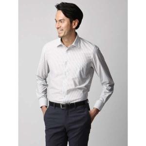 ドレスシャツ/長袖/メンズ/ジャージー素材/ワイドカラードレスシャツ ストライプ ライトグレー×ホワイト|uktsc