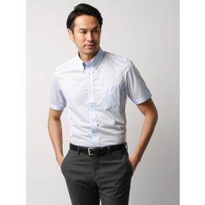 ドレスシャツ/半袖/メンズ/JAPAN FABRIC/半袖・ジャージー素材/ボタンダウンカラードレスシャツ 無地 サックスブルー|uktsc