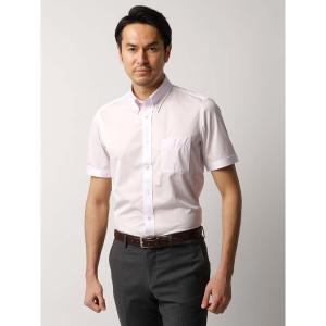 ドレスシャツ/半袖/メンズ/JAPAN FABRIC/半袖・ジャージー素材/ボタンダウンカラードレスシャツ ストライプ ピンク×ホワイト|uktsc