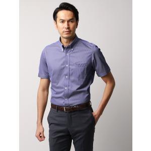 ドレスシャツ/半袖/メンズ/JAPAN FABRIC/半袖・ジャージー素材/ボタンダウンカラードレスシャツ ストライプ ネイビー×ホワイト|uktsc