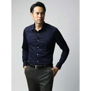 ドレスシャツ/長袖/メンズ/JAPAN FABRIC/ジャージー素材/ワイドカラードレスシャツ 無地 ネイビー|uktsc