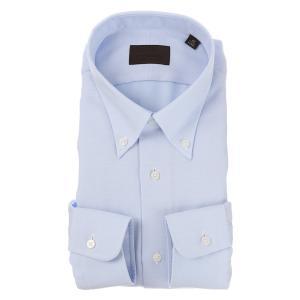 ドレスシャツ/長袖/メンズ/ICE COTTON/ボタンダウンカラードレスシャツ 織柄 ブルー×ホワイト|uktsc