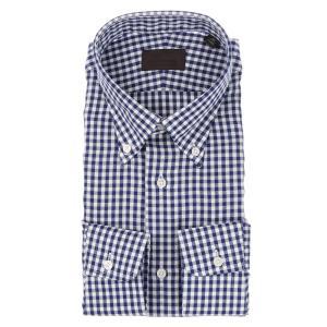 ドレスシャツ/長袖/メンズ/ICE COTTON/ボタンダウンカラードレスシャツ ギンガムチェック ネイビー×ホワイト|uktsc