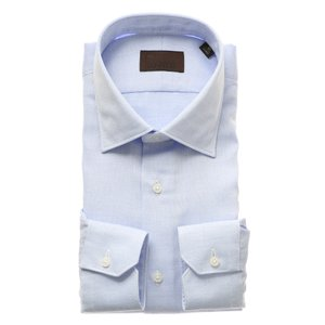 ドレスシャツ/長袖/メンズ/ICE COTTON/ワイドカラードレスシャツ 織柄 ブルー×ホワイト|uktsc