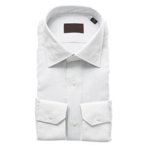 ドレスシャツ/長袖/メンズ/ICE COTTON/ワイドカラードレスシャツ 織柄 ライトグレー×ホワイト|uktsc